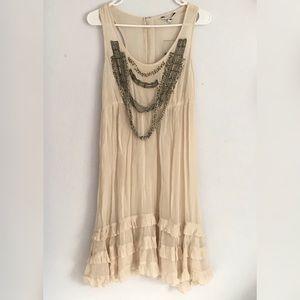 River island cream boho beaded trim tank dress